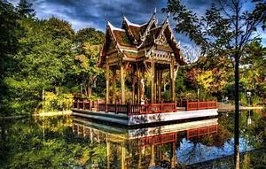 germany, , gardens, , pond, , pagodas, , trees, , hdr, , sendling, westpark, , munich, , nature, wallpapers, hd