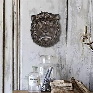 Plaque Décorative Murale : plaque d corative murale en fonte de fer masque t te de lion ~ Preciouscoupons.com Idées de Décoration