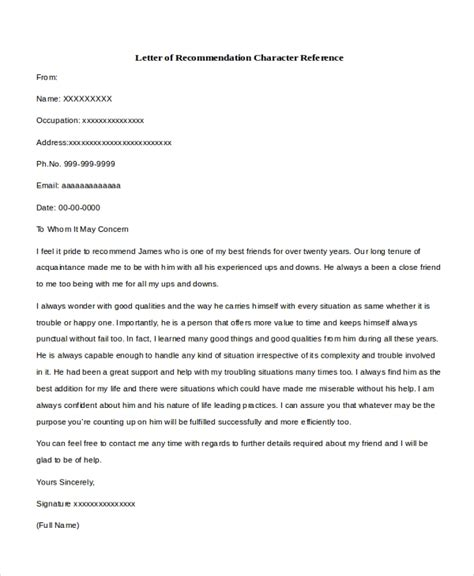 character letter of recommendation sample character reference letter 8 free documents in 20815   Letter of Recommendation Character Reference