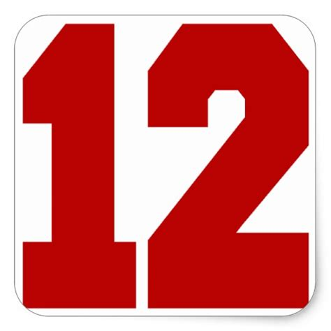 Red Jersey Number 12 Square Sticker