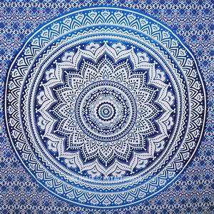 Small Blue Goddess Ombre Mandala Tapestry, Floral Wall