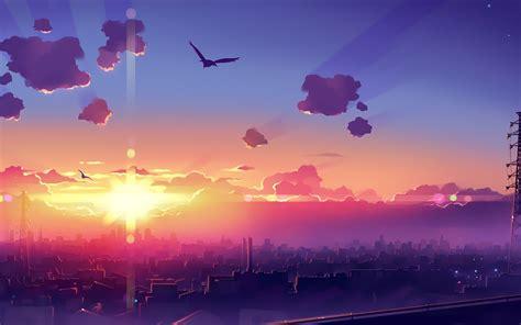 Anime Sunset Wallpaper Hd - artwork anime city sunset sky wallpapers