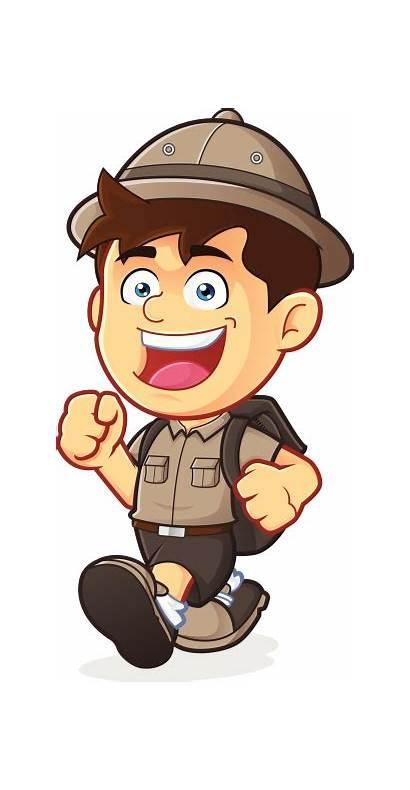 Explorer Boy Clipart Scout Walking Cartoon Vector