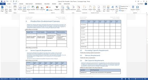 capacity plan template  microsoft word  excel