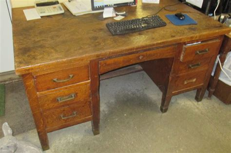 antique teachers desk 5 oak wood desk school office vintage mid century