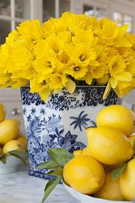 Blue and White Vase with Yellow Flowers