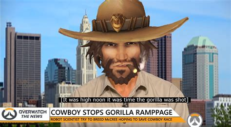 Mcree Memes - mccree shoots gorilla to save friends from being thrown off cliff overwatch know your meme