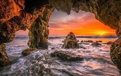 Cave Ocean Beach Sunset Nature Sea Wallpapers