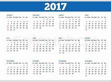 Simple 2017 year calendar Clean, Stock Vector