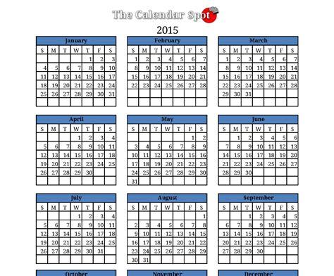 One Page 2015 Calendar Template Costumepartyrun