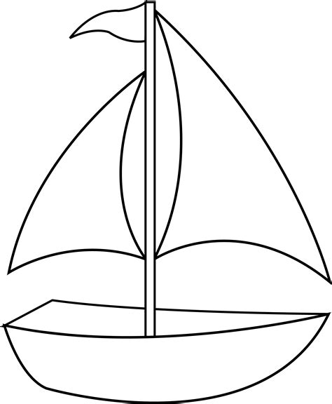 boat clipart black and white colorable sailboat line free clip