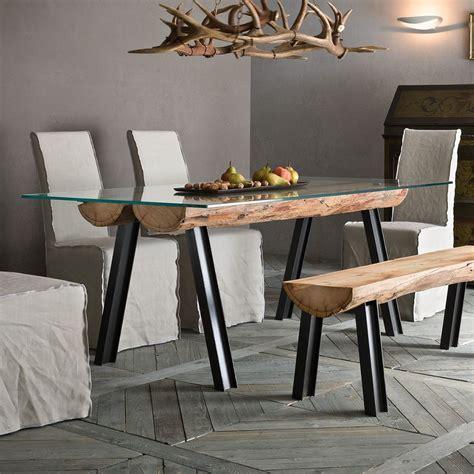 tisch aus glas anfide t fester designer tisch mit untergestell aus metall und holz tischplatte aus glas in