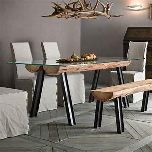 Tisch Aus Holz : anfide t fester designer tisch mit untergestell aus metall und holz tischplatte aus glas in ~ Watch28wear.com Haus und Dekorationen