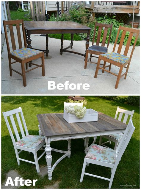 curbside table turned farm table mismatched chairs
