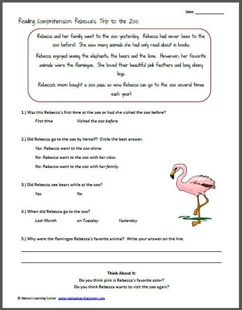 Reading Comprehension Rebecca's Trip To The Zoo  2!, Comprehension Worksheets And Trips