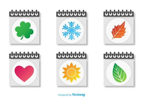seasonal calendars icon vectors   vectors