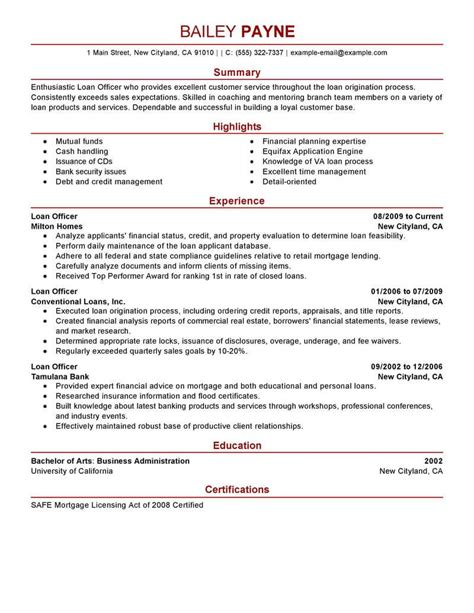 Finance Resume by Loan Officer Resume Sles Bijeefopijburg Nl