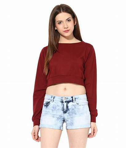 Tops Maroon Cotton Crop Chase Miss Wear