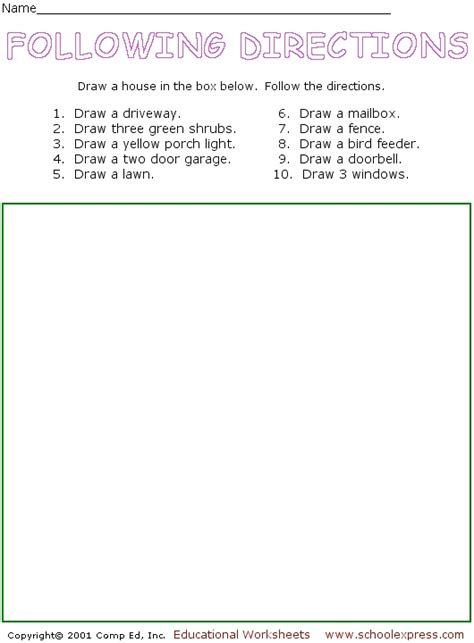 directions drawing activity worksheet  st