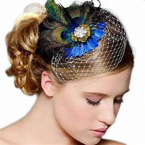 Peacock Feather Rhinestone Hair Pin Clip Dance Party