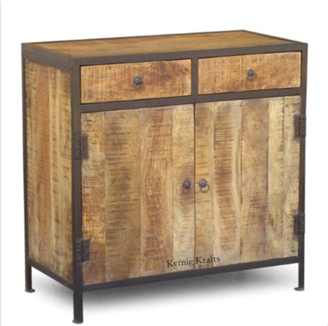 48 Inch Sideboard by Mango Wood Rustic Industrial Storage With Drawer