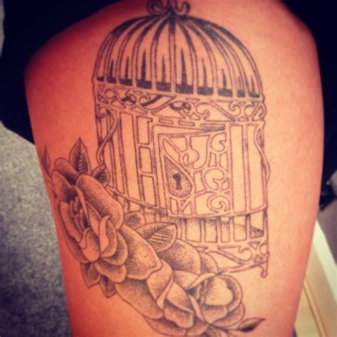 birdcage  flowers tattoo