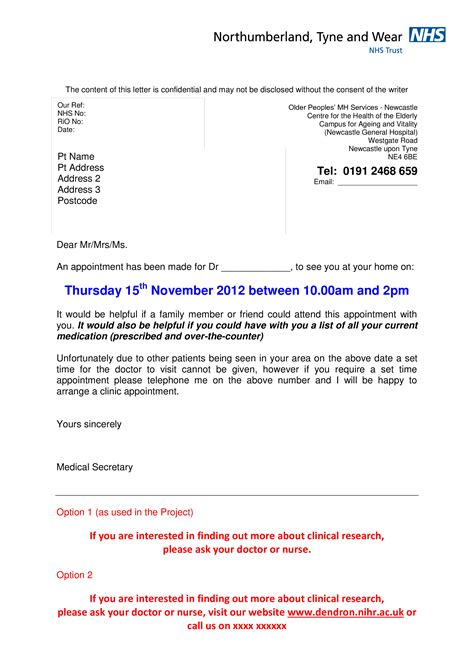 hospital appointment letter format templates