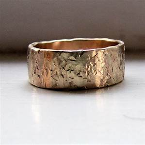 men39s wedding band 14k gold unique rustic distressed With mens unique wedding rings