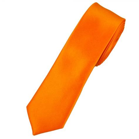 plain bright orange skinny tie  ties planet uk
