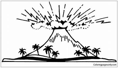 Volcano Pages Coloring Active Printable Coloringpagesonly