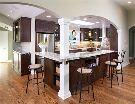 kitchen island columns contemporary kitchen