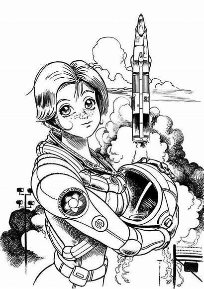 Astronaut Coloring Space Pages Female Center Outer
