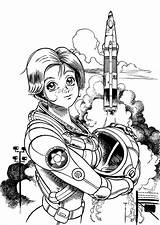 Astronaut Coloring Space Pages Female Center Outer Astronauts Drawings Kenworth Looking Template W900 Sotomayor Sonia Popular sketch template