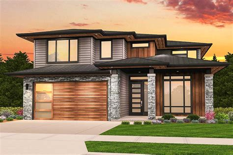 Two Story Prairie Style House Plan