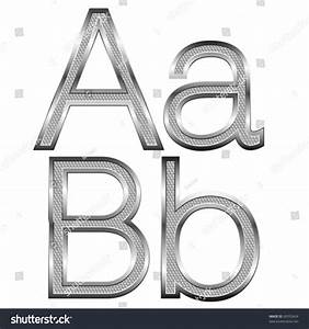 vector set of thin diamond metal letters on white With thin metal letters