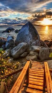 wallpaper sea 4k hd wallpaper sun sunset stones