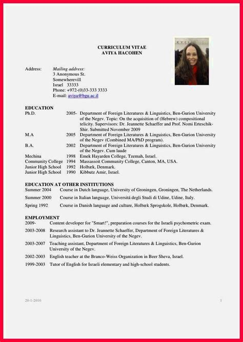 Graduate Cv Template by Curriculum Vitae Sle For Fresh Graduate Resume