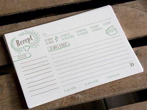 rezeptkarten er set letterpress handgedruckt von