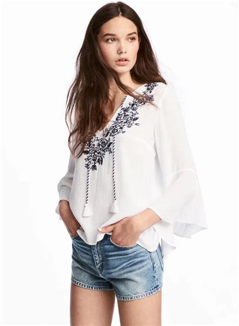 s sleeve blouses v neck floral embroidery flare sleeve blouse oasap com