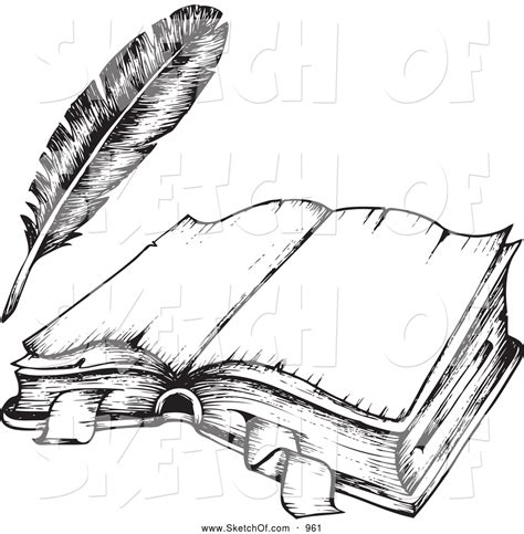 drawing   black  white open book  feather quill