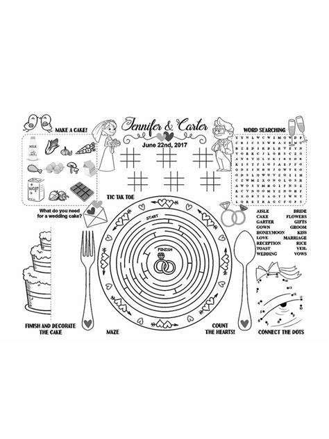 easy printables to keep kids busy at the reception
