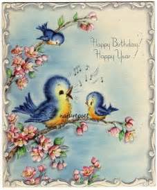 Vintage Happy Birthday Birds