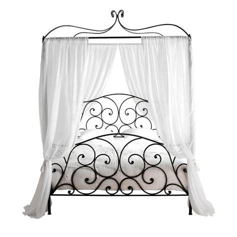 voilage chambre bébé garçon lit à baldaquin 160 x 200 cm en métal marron sheherazad