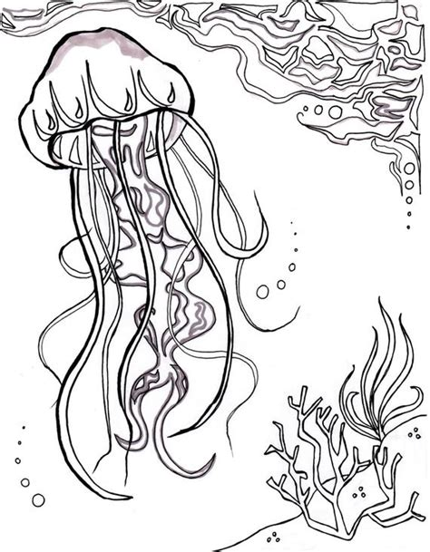 jellyfish ocean ocean coloring sheet aquatic art sea