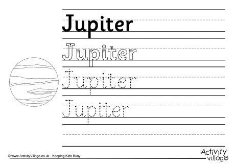 jupiter planet worksheet jupiter handwriting worksheet
