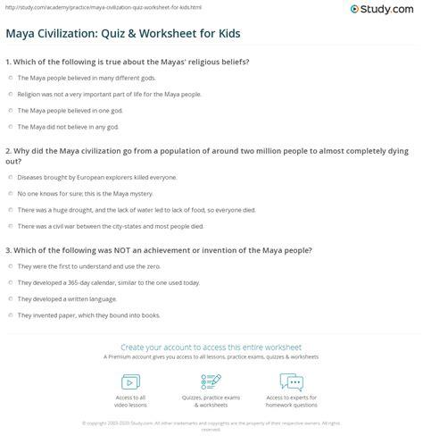 Maya Civilization Quiz And Worksheet For Kids