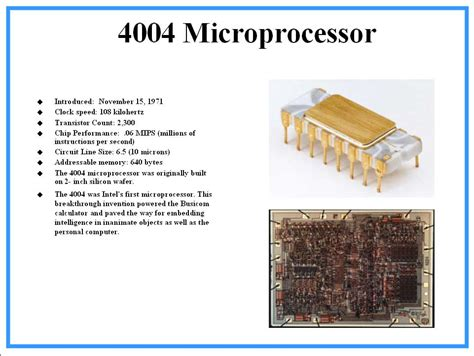 Intel 4004 : Intel's First Microprocessor specification