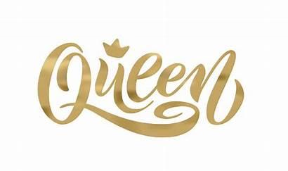 Crown Vector Queen Word Text Lettering Hand