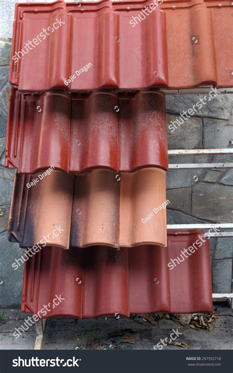 roof tiles exhibited roof tiles front stock photo