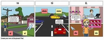 Preterite Dar Ver Spanish Storyboard Tense Estar
